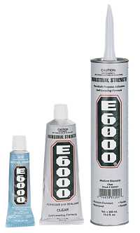 three different sizes of repair adhesive shown