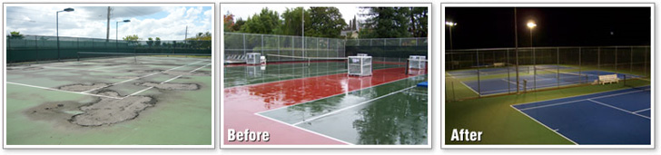 Tennis Court Resurfacing - before and After